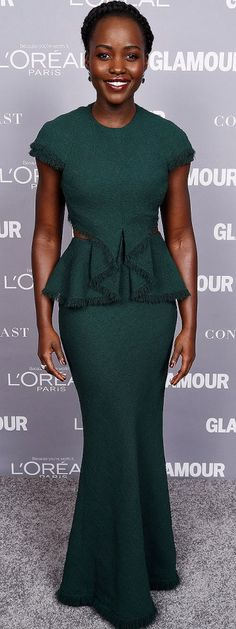 Lupita Nyong'o goes green at the Glamour Women of the Year Awards on Monday in New York.