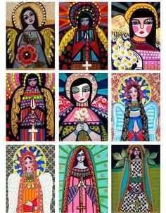 Mexican Folk Art  Set of 9 ACEO PRINT Cards  by HeatherGallerArt, $24.00