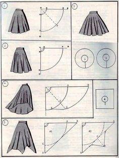 Cut of different skirt la rose noire Mode Cut Kleider rock noire rosé Skirt Skirt Patterns Sewing, Clothing Patterns, Coat Patterns, Blouse Patterns, Smocking Patterns, Skirt Sewing, Barbie Clothes, Sewing Clothes, Girls Dresses Sewing