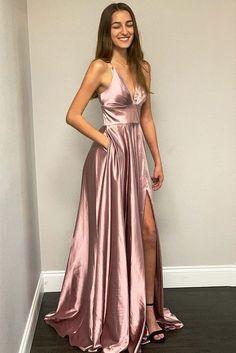 Spaghetti Straps Rose Gold Long Prom Dress with Side Slit - Bal de Promo Best Formal Dresses, Split Prom Dresses, Dresses Elegant, Gold Prom Dresses, Prom Dresses With Pockets, A Line Prom Dresses, Cheap Prom Dresses, Maxi Dresses, Long Dresses