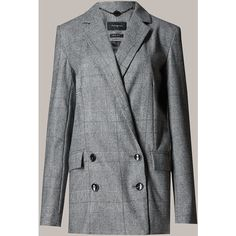 Autograph New Wool Blend Prince of Wales Checked Blazer (4,625 THB) ❤ liked on Polyvore featuring outerwear, jackets, blazers, grey, grey blazer, long sleeve jacket, wool blend blazer, button jacket and double breasted blazer Gray Blazer, Gray Jacket, Suit Jacket, Straight Jacket, Checked Blazer, Double Breasted Jacket, Prince Of Wales, Jacket Buttons, Outerwear Jackets