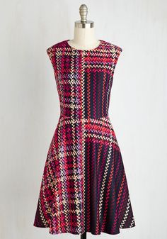 Talk Show and Tell Dress. Your upcoming webisode interview is the perfect opportunity to showcase this pocketed A-line! #multi #modcloth