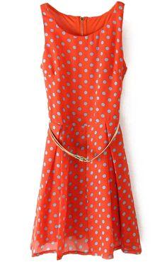 Orange Sleeveless Polka Dot Belt Chiffon Dress