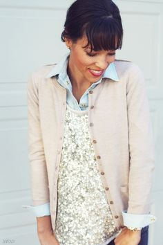 layers: chambray, sequins + cardi.