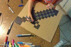 Cardboard Minecraft Sword: Easy to do sword as an accessory for a Minecraft halloween costume Minecraft Halloween Costume, Minecraft Costumes, Diy Halloween Costumes, Halloween Crafts, Minecraft Sword, Minecraft Room, Minecraft Crafts, Minecraft Activities, Minecraft Furniture