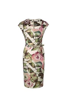 This elegant shift dress features a flawless cut and a stunning, all-over floral print. A round neckline and subtle cap sleeves add feminine touches. The separate belt with a tone-in-tone print accentuates the fitted design beautifully.#MODELFIT: The model is wearing a size 34 with a height of 70.1 '' and a waist circumference of 23.6 ''.#Back zipper|Tone-in-tone darts|All-over floral print|Separate belt with a gold-colored buckle and ESCADA lettering|Filigree belt loops