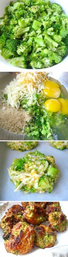 Broccoli Bites - 16 oz. package of frozen chopped broccoli, thawed and drained of liquid (can use fresh steamed broccoli)  1 1/2 cup of grated cheddar cheese  3 eggs  salt & pepper  1 cup of seasoned Italian breadcrumbs