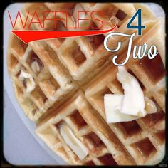 Waffles 4 Two - Lou Lou Girls - This newly married stuff is so much better than being single. It's easier to cook for two than it - Waffle Recipe Almond Milk, Small Batch Waffle Recipe, Waffle Mix Recipes, Easy Waffle Recipe, Snack Recipes, Waffles For Two Recipe, Snacks, Cooking A Roast, Waffles