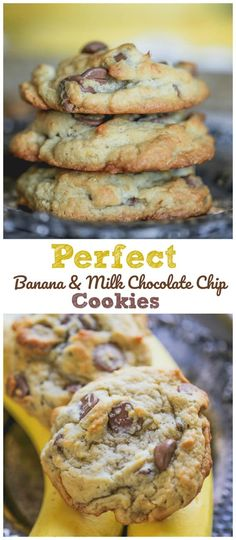 Perfect Banana Milk Chocolate Chip Cookies Perfect Banana Milk Chocolate Chip Cookies for summer-time are the perfect sweet treat featuring bananas and milk chocolate together in yummy chocolate chip cookies! These perfect banana cookies are buttery, chew Tasty Chocolate Chip Cookies, Chocolate Snacks, Milk Cookies, Banana Chocolate Chips, Healthy Banana Cookies, Milk Chocolate Frosting Recipe, Banana Cookie Recipe, Banana Brownies, Banana Chips
