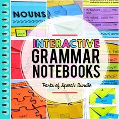 Over 40 different INTERACTIVE notebook activities to practice and apply grammar skills. This Grammar interactive Notebook Bundle was created to make grammar and parts of speech fun for students in the primary setting! Teaching Letters, Teaching Grammar, Teaching English, Teaching Resources, Homeschooling Resources, Education English, Adjectives Grammar, Teaching Ideas, Prepositions
