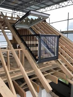 What are Velux Cabrio Windows Velux cabrio balcony window. Installed by Warton Woodworks. This type of windows is a great feature for any loft conversion. Roof Balcony, Balcony Window, Roof Window, Attic Bedroom Designs, Attic Design, Attic Rooms, Attic Bathroom, Bathroom Ideas, Bathroom Small