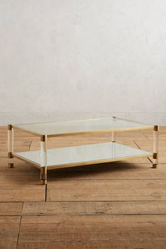 Slide View: 1: Oscarine Lucite Mirrored Coffee Table, Rectangle