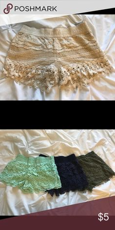 Cream Crochet Shorts Size medium (7-9)  Buy three or more pair (any color) for $3 each. Shorts