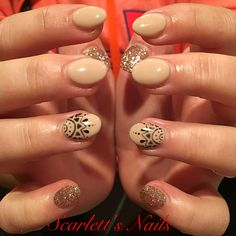 Light elegance nude with attitude champagne glitter gel mandala nude gel nails #scarlettsnails