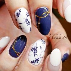 静岡ネイルサロンcouturière大人の女性の為のネイルサロン #フラワー #変形フレンチ #パープル #ホワイト #ミディアム #couturie_re #ネイルブック