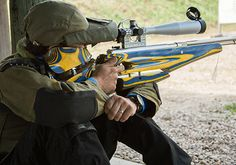 Tom Peretti of Canada shoots his HW77 during the Field Target competition.