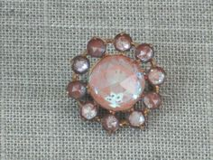 Vintage Victorian Rare 11 Stones Saphiret Pin Brooch Faceted Large Round Domed