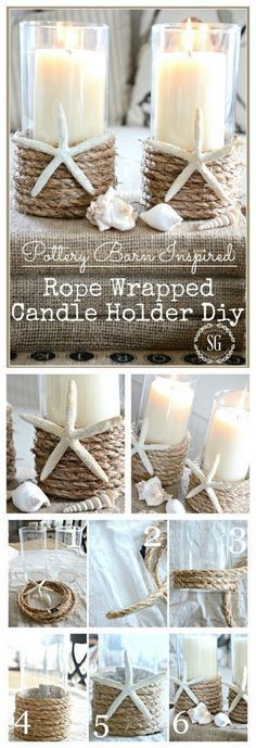 Beach inspired rope wrapped in candle holder. - House garden - Beach inspired rope wrapped in candle holder. up # candle holder - Seashell Crafts, Beach Crafts, Diy And Crafts, Decor Crafts, Twine Crafts, Seashell Projects, Rope Crafts, Seashell Art, Crafts To Make And Sell