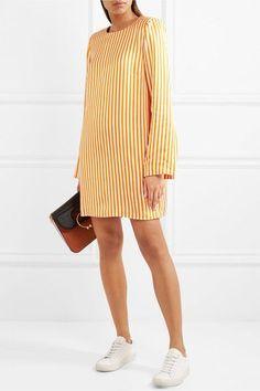 Maggie Marilyn - I'm Coming Home Striped Satin-twill Mini Dress - Yellow