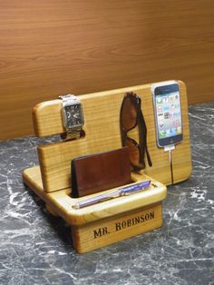 Personalized Stand for iPhone 4, iPhone 5,iPhone Dock,holder for watches, pens and wallets, iPhone 6