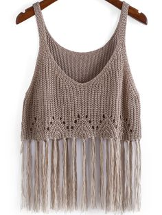 Der Neue : Boho Knit Tassel Cami Top in Kamel-Scheiße, Crochet Crop Top, Crochet Blouse, Crochet Bikini, Knit Crochet, Cami Tops, Crochet Clothes, Diy Clothes, Knitting Patterns, Crochet Patterns