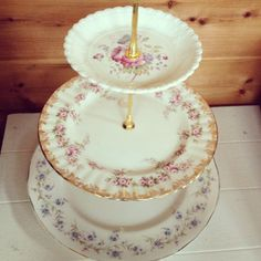 Beautiful three tier vintage cake stand -  wedding - afternoon tea. $32.00, via Etsy.
