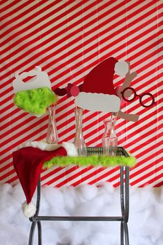 DIY home photo booth for a Grinch holiday party