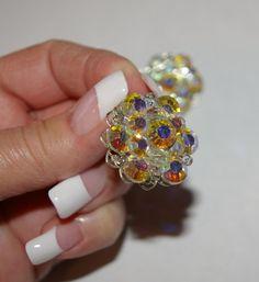 Crystal Clip on Earrings  Aurora Borealis Vintage by bettysworld4u
