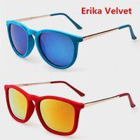 2015 New Erika Velvet Frame Sunglasses Women Brand Designer Vintage Sun Glasses For Women Round Retro Oculo De Sol Feminino 4171
