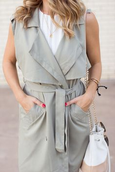 Olive green Sleeveless Trench