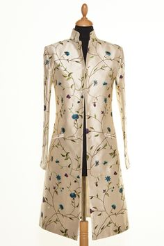 Shibumi silk embroidered Nehru Coat in Porcelain. The perfect coat to wear at weddings. #shibumi #embroideredsilk #silkcoat