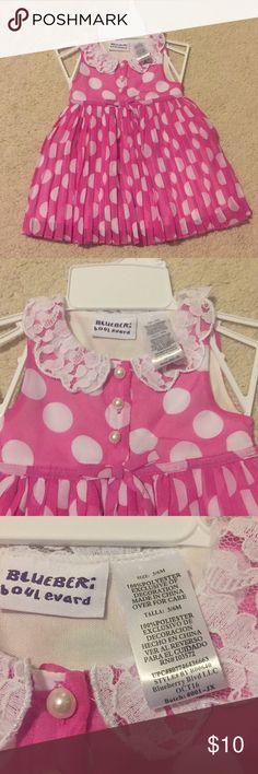 Polka Dot infant Dress. NWOT Blueberi Boulevard polka pink dress. Lace collar. Pear painted buttons. Shear skirt with white underlay blueberi boulevard Dresses Casual