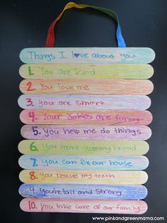 10 Commandments/Fruits of the Spirit/? Pink and Green Mama: Homemade Father's Day Gift: Top 10 Things I Love About You Popsicle Stick Sign Popsicle Stick Crafts, Craft Stick Crafts, Crafts To Do, Craft Gifts, Crafts For Kids, Popsicle Sticks, Craft Sticks, Homemade Fathers Day Gifts, Fathers Day Crafts