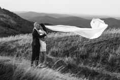 Beautiful couple in mountains.