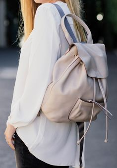 ac1788d3cdbe  fall  outfits · Leather Backpack    White Blouse    Black Pants New
