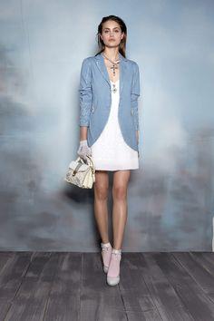 #danieladallavalle #collection #ss16 #elisacavaletti #jacket #dress #necklace #socks #shoes #gloves #bag #blue #lightblue #white #beige #pink #leather