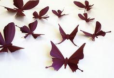 3D paper butterfly sticker, wall sticker, baby nursery, room decoration, wedding decoration in eggplant purple 20 pieces