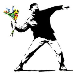 One of Bansky's subversive designs. Represent's guerilla gardening perfectly. True flower power.