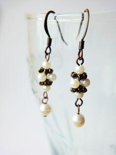 Classic Simple Stylish Ivory Swarovski Pearls Copper Earrings Handmade Gifts June Birthstone