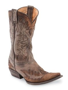 I really like these Oh-so distressed, washed brown leather boots! They even run one size larger, so an 8 would order a 7. Love them!