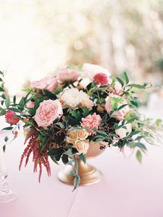 Pink DIY floral arrangements: http://www.stylemepretty.com/2016/12/05/pink-girly-bridal-shower/ Photography: Mariel Hannah - http://www.marielhannahphoto.com/