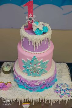 Gorgeous cake at a Winter Wonderland birthday party! See more party planning ideas at CatchMyParty.com!