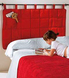 cabecera para cama metal y tela