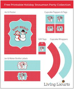 Free Party Printables - Holiday Snowman Collection / Holiday Snowman Party Collection {Free Printables}: Printable tags, bottle labels, cupcake toppers & wrappers / http://www.livinglocurto.com/2011/12/free-party-snowman/#