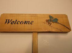 Blue Dragonfly Welcome sign  Garden sign  Camp Sign by Driftinn