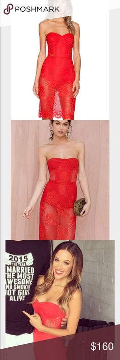 Size small for love and lemons garden isle dress Size small for love and lemons garden isle dress. Very rare dress! The Garden Isle Dress is made in a red semi sheer lace and features strapless design, bustier boning and underwire, and partial lining at bodice. The skirt is lined in a bodysuit panty with crotch snaps. Kills it with strappy heels and a faux flower clip behind your ear. By For Love & Lemons. It's a size 2/4 For Love and Lemons Dresses Midi
