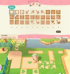 Rosa's Paths - Updated with single bordered paths, more heart directions, and a couple new designs. I'm open to suggestions on new designs for the set! Animal Crossing Qr Codes Clothes, Animal Crossing Pocket Camp, Animal Crossing Game, Animal Games, My Animal, Acnl Paths, Ac New Leaf, Motifs Animal, Island Design