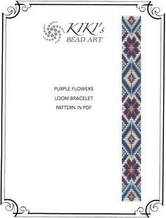 Purple flowers ethnic inspired LOOM bracelet PDF pattern instant download