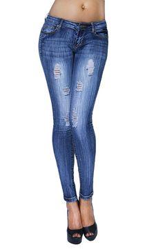 Womens Vintage Medium Wash Distressed Denim Skinny Jeans with Pockets (SIZE : 5, JBHP2417-DENIM)