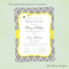 DIY Printable Yellow & Gray Baby Shower by EllieBlueDesigns, $15.00